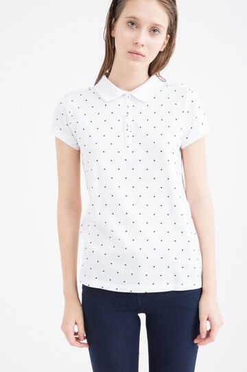 Stretch cotton polka dot polo shirt