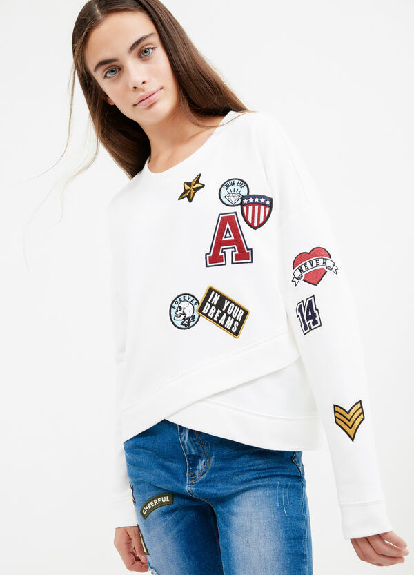 Teen cotton blend sweatshirt with patches | OVS