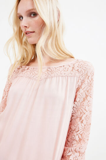 100% viscose blouse with lace, Pink, hi-res