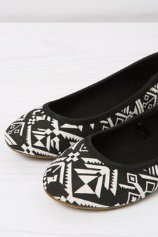 Patterned ballerina flats with round toe, Black, hi-res