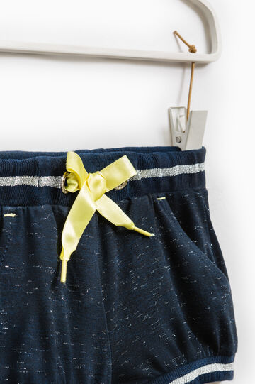 Stretch cotton shorts with drawstring, Navy Blue, hi-res