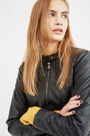 Leather-look biker jacket, Black, hi-res