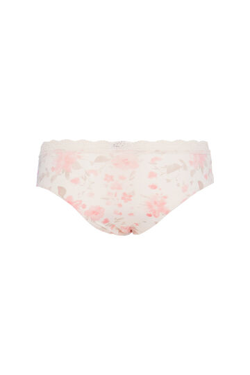 Stretch briefs with insert and print, Pink, hi-res