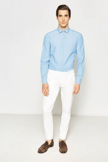 Cotton regular-fit Rumford trousers, White, hi-res
