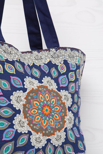 Cotton shopping bag with multicoloured pattern, Multicolour, hi-res
