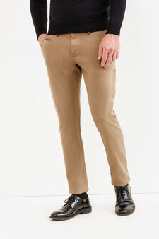 Solid colour stretch chino trousers, Dark Beige, hi-res