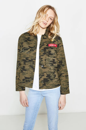 100% cotton jacket with camouflage pattern, Black/Green, hi-res