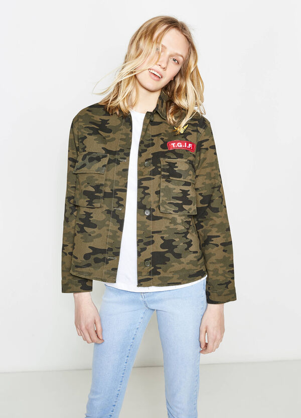 100% cotton jacket with camouflage pattern | OVS