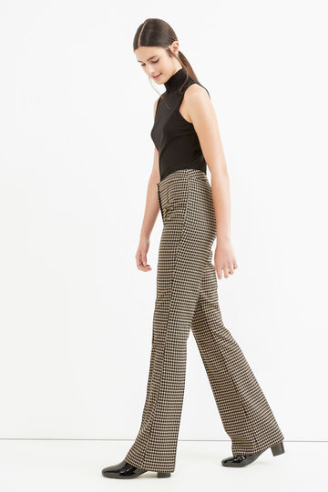 Checked stretch elegant trousers, Black, hi-res