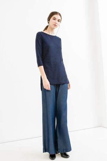 Long knitted pullover with slits, Blue, hi-res