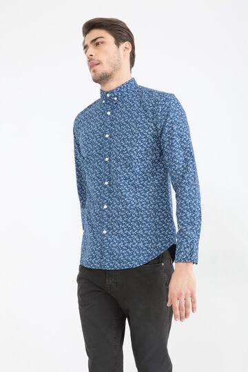 Camicia puro cotone fantasia G&H, Blu, hi-res