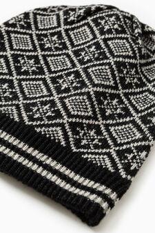 Knitted pattern beanie cap, Black, hi-res