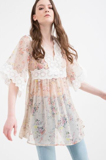 Patterned cotton blend dress, Ecru Brown, hi-res