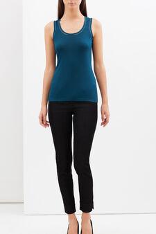 Vest with openwork trim, Petrol Blue, hi-res