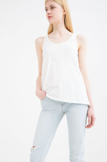 Cotton and viscose top with inserts, Milky White, hi-res