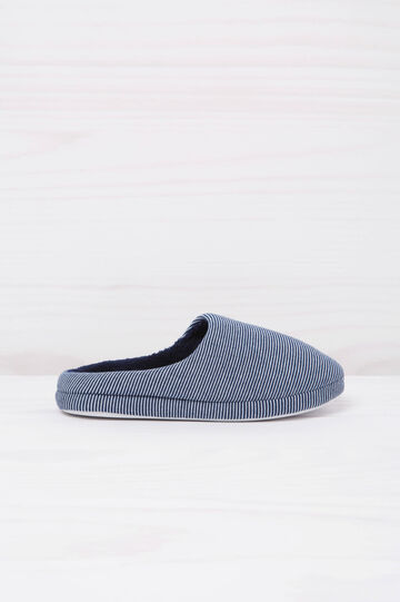 Pantofole a righe, Bianco/Blu, hi-res