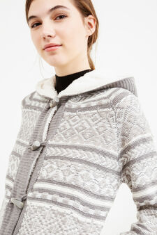 Knitted cardigan with geometric pattern, White/Grey, hi-res