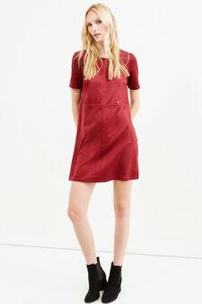 Short-sleeved suede-effect dress, Red, hi-res