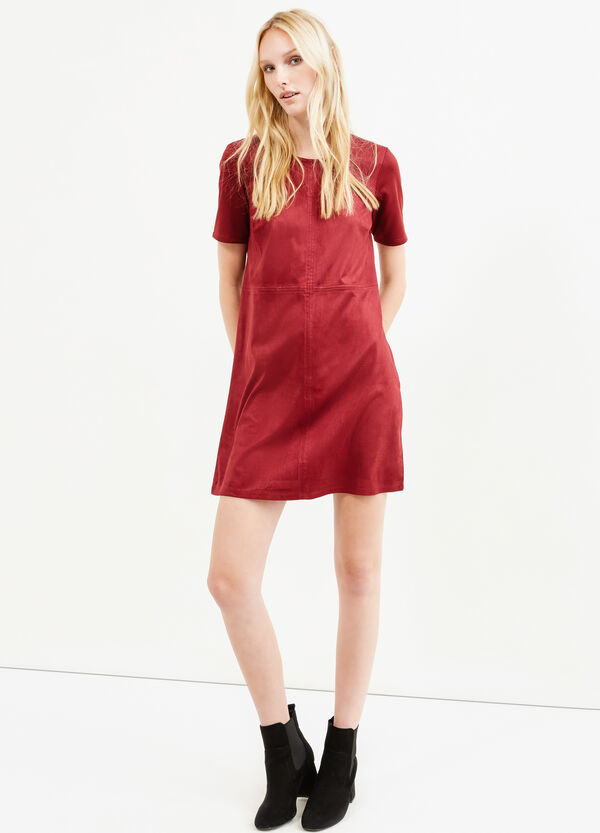 Short-sleeved suede-effect dress | OVS
