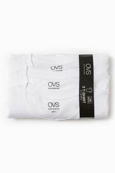 Three-pack solid colour cotton underwear T-shirts, White, hi-res