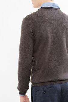 Solid colour cashmere and silk pullover, Brown, hi-res