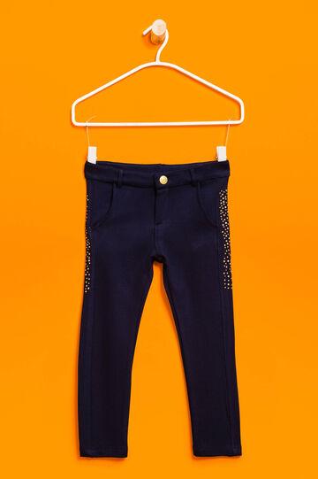 Pantalón en viscosa elástica con strass, Azul, hi-res
