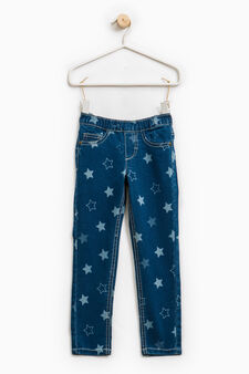 Stretch jeggings with star pattern, Soft Blue, hi-res