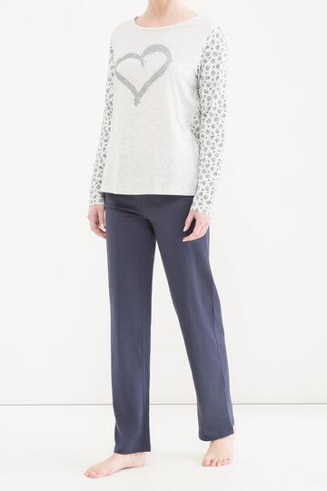 Curvy printed cotton pyjama top, Grey Marl, hi-res