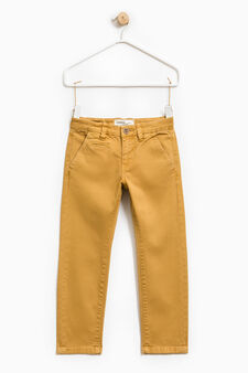 Solid colour stretch chino trousers, Ochre Yellow, hi-res