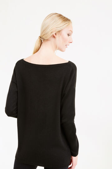Wool blend, sequinned pullover, Black, hi-res