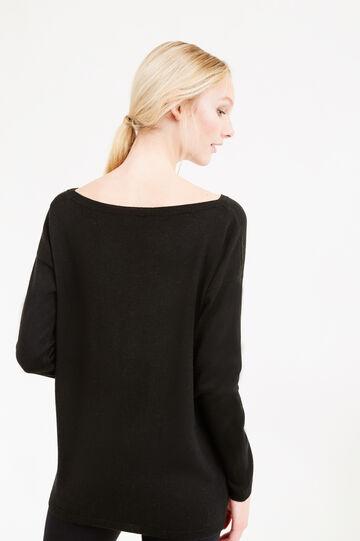 Pullover misto lana con paillettes, Nero, hi-res