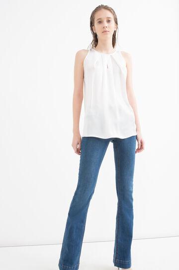 Plain blouse, White, hi-res