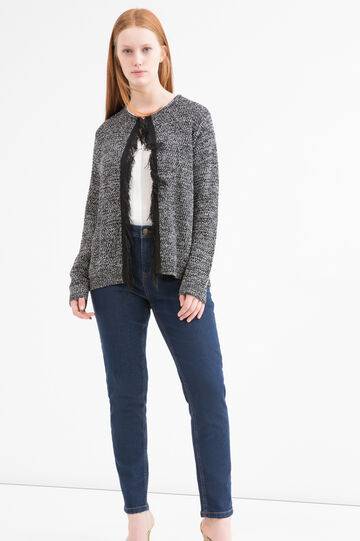 Curvy cotton blend cardigan, Black, hi-res