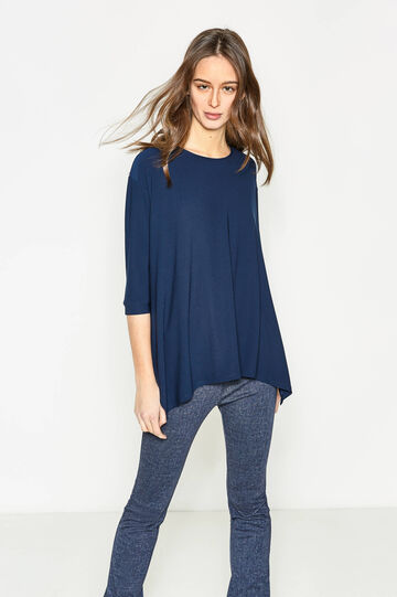 Pleated T-shirt with slits, Blue, hi-res