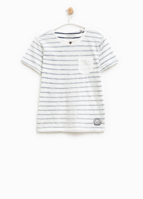 Striped cotton T-shirt with print | OVS
