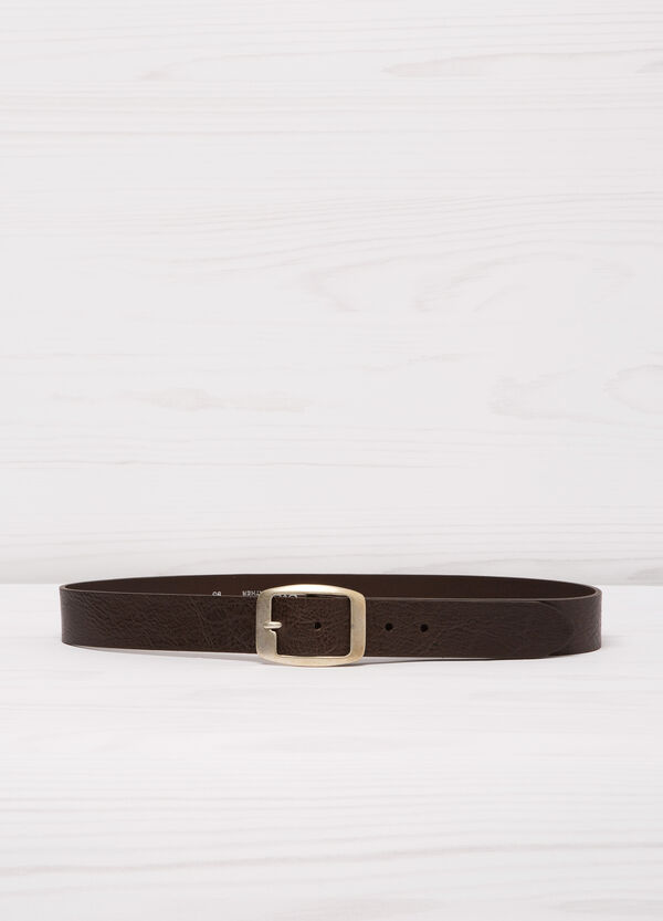 Leather belt with rectangular buckle.   OVS