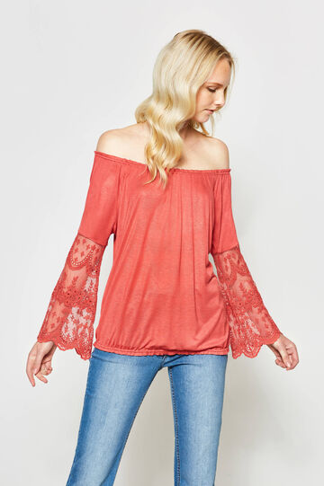 100% viscose T-shirt with lace