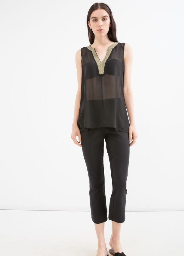 Blusa semitrasparente scollo a V | OVS