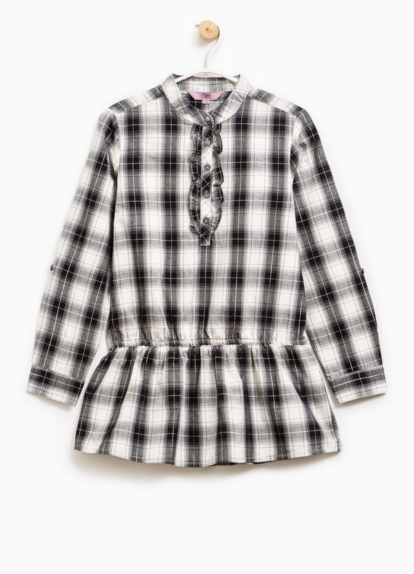Blusa de cuadros de algodón y lúrex | OVS