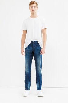 Jeans slim fit used stretch con bottone, Lavaggio scuro, hi-res