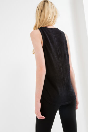 Viscose blend top with eyelets, Black, hi-res