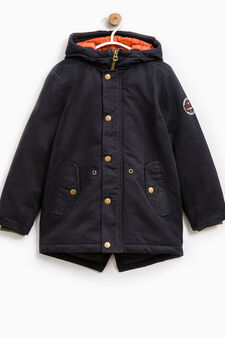 Cotton parka with patch on sleeve, Navy Blue, hi-res