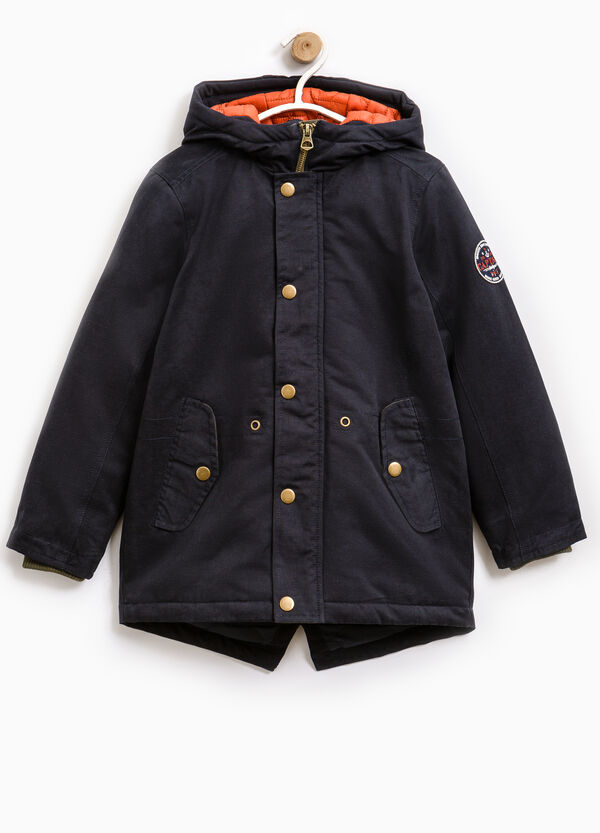 Cotton parka with patch on sleeve | OVS