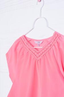 Solid colour 100% viscose shirt, Fuchsia, hi-res