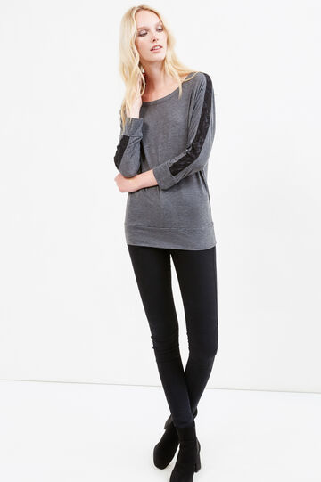 100% cotton T-shirt with lace, Dark Grey, hi-res