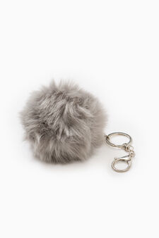Fur pompom keyring, Light Grey, hi-res