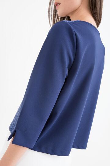 T-shirt stretch fantasia geometrica, Blu, hi-res