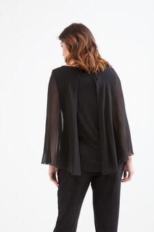 T-shirt misto viscosa inserto Curvy, Nero, hi-res
