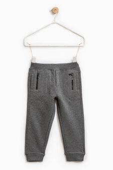 Pantaloni tuta tasche con zip, Grigio scuro melange, hi-res