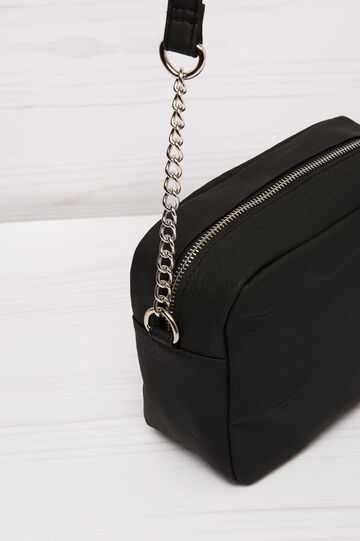 Leather look shoulder bag, Black, hi-res